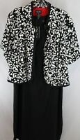 Maggie Barnes Women Ladies Black White Confetti Splash Jacket Dress Set Size 32W