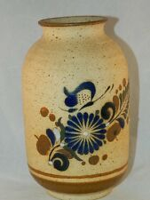 MEXICAN TONALA VASE POTTERY BUTTERFLY WITH FLOWERS ROYAL BLUE & BROWN GARDIEL 7""
