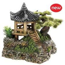 "Classic Pagoda House & Plant 7"" Aquarium Fish Ornament"