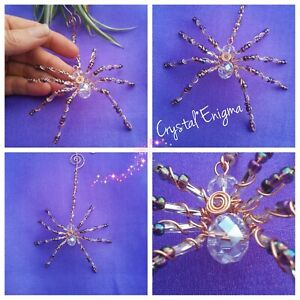 CRYSTAL SPIDER SUN CATCHER Hand Crafted Glass Beads & Copper Wire