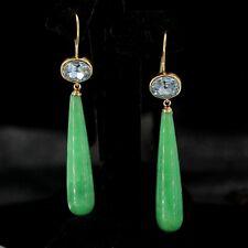orecchini Dorato Ovale Cristallo Blu Goccia Lungo Aventurina Verde Retrò QD3