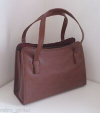 50s 60s Vintage Brown Leather Look Handbag Clutch Bag Purse Grace Kelly Style