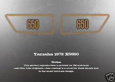 YAMAHA 1978 XS650 SIDE COVER DECALS GRAPHICS LIKE NOS