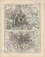 1899 VICTORIAN MAP ~ VIENNA WIEN ENVIRONS ~ ROME WITH PUBLIC BUILDINGS