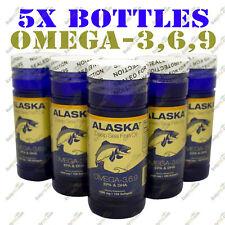 5 X100 Alaska Fish Oil Omega-3,6,9 DHA/EPA/Flaxseed Oil, FRESH, Global Shipping