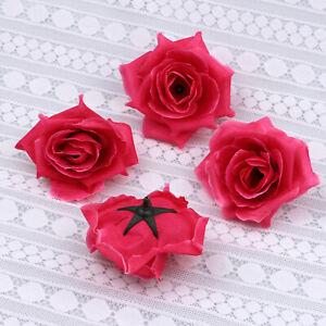 20-100PCS Rose Red Fake Rose Artificial Silk Flower Heads Wedding Home Decor
