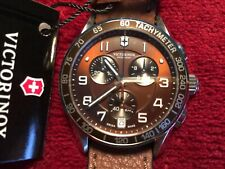VICTORINOX SWISS ARMY-Men's Chrono Classic Brown Dial Leather Watch 241498 NWT