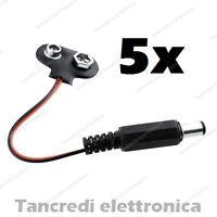 5x Adattatore 9V jack 2.1mm connettore cavo alimentazione batteria pila