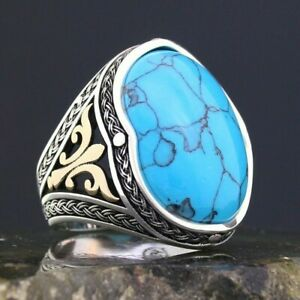 Solid 925 Sterling Silver Oval Turquoise Stone Men's Ring