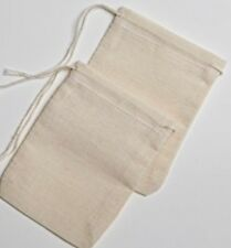 Muslin Drawstring Bags UNBLEACHED 100% Cotton X 10 For Tea, Pickling & GIN