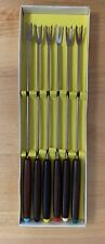Vintage Stainless Steel Fondue Forks Set Of 6 Color Coded Wood Handles In Box