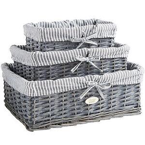 VonHaus Wicker Storage Baskets Seagrass Grey Bathroom Set Of 3 Cloth Lining