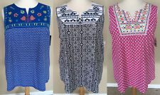 NWT Kim Rogers Boho Sleeveless Knit Top Blouse Tunic Black Pink or Blue 1X 2X 3X
