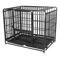 """36/42"""" Heavy Duty Pet Dog Cage Strong Metal Crate Kennel Playpen w/Wheels & Tray"""