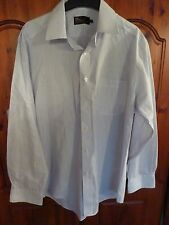 Marks & Spencer tailoring cotton rich non iron white and blue striped shirt. 16""