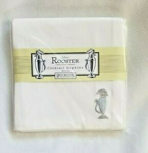 Restoration Hardware Cocktail Napkins - Silver Rooster / Set of 4 - Sealed NIP W