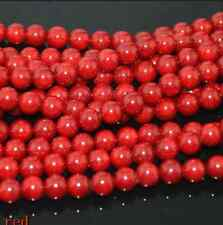 """New 4mm Natural Red Coral Gemstone Loose Round Spacer Beads 15"""""""