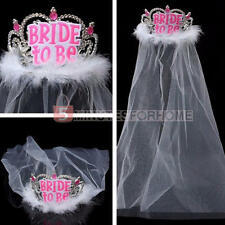 White Bride to Be Tiara+Veil - Hen Night Party Bachelorette Bridal Shower