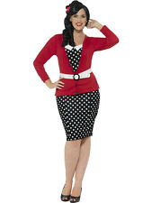 Smiffy's Women's Curves 50's PIn Up Polka Dot Adult Retro Plus Size Costume 1X
