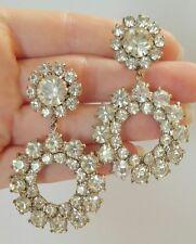 Vintage Large Prong Set Rhinestone Dangle Wedding Clip Earrings Statement Runway
