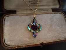 Vintage Jewellery Amethyst AB & Peridot Green Crystal Rhinestone Necklace