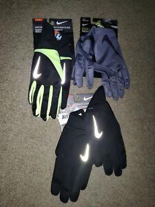 Mens Nike Running Gloves Set Of 3 Medium Storm Fit 2.0 & Base Layer