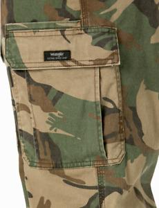 Men's Wrangler Camo FLEX Cargo Pants Relaxed Fit Tech Pocket ALL SIZES 34-48 NEW