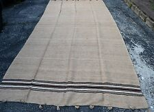 Vintage Moroccan All Handmade Berber wedding Wool Blanket poom poom 15f X 6f 7in