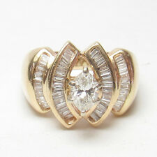 Estate 14K Yellow Gold 0.40 Ct Marquise Cut Diamond Ring 1.00 Ct Total