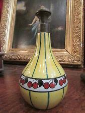 ancien flacon de parfum en porcelaine de limoges decor cerises art deco