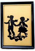 Antique 19th Century Silhouette Children Skating