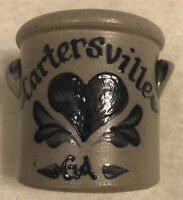 "Retired Salt Glazed Crock 1998 Rowe Art Pottery 4""T 4""D Cartersville GA"