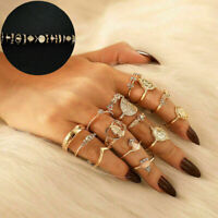 15 Pcs/set Finger Ring Set Vintage Punk Boho Knuckle Rings Jewelry NEW Gold Midi