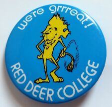 Vintage Red Deer College Pinback Button Pin Canada