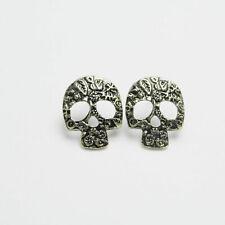 Vintage Bronze Floral Flower Pattern Engraving Skull Head Stud Earrings UK