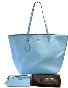NWT Coach 34099 Pale Blue Crossgrain Leather Large Street Tote Bag with Wristlet