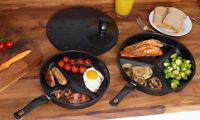 New 3pc Combo Divided Frying Pan Set Separate Cooking Non Stick Easy Cleaning
