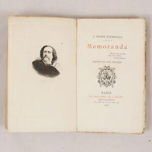 🌓 BARBEY D'AUREVILLY | Memoranda | pref. PAUL BOURGET | exlibris DECARIS Bayeux