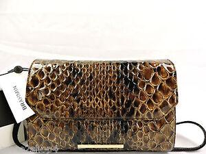 ⚘Brahmin Carina Satchel Tobacco Carlisle Leather Shoulder/Clutch/Evening Bag NWT