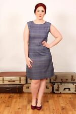 60 S Vintage Blu Giallo & Rosso Tartan Plaid check Wiggle matita/Shift Dress