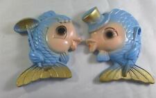 Pair 1969 Miller Studio Chalkware Blue & Gold Boy & Girl Fish Top Hat Parasol