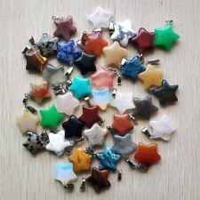 Wholesale 100pcs MIX Natural Stone pentagram Gemstone charms Necklace Pendant
