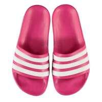 adidas Kids Girls Duramo Sliders Junior Pool Shoes Slip On Strap Stripe