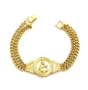 "Catholic Saint Barbara Piece 8.25"" Double Link Chain Mens Fashion Bracelet XB372"