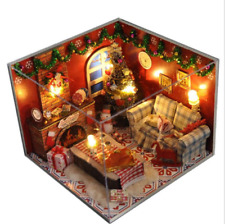 DIY Miniature House Merry Christmas fireplace living room Dollhouse Assembly Kit