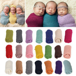 Baby Blanket Newborn Photo Wraps Stretch Knit Wrap Photography Solid Color Soft