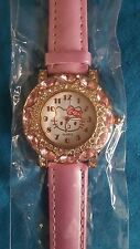 Hello Kitty Girls  Pink Crystal Watch Quartz Wristwatch (1-2 Day UK Delivery)