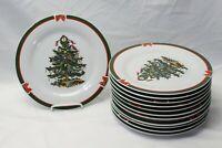 "Topco Ribbons and Tree Xmas Dinner Plates 10.5"" Set of 12"