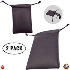 2 Pcs Black PU Leather Lavalier Lapel Microphone Protective Storage Bag Pouch