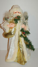 """LARGE 24"""" TALL CHRISTMAS VICTORIAN STYLE SANTA TREE TOPPER WHITE GOLD ROBE"""